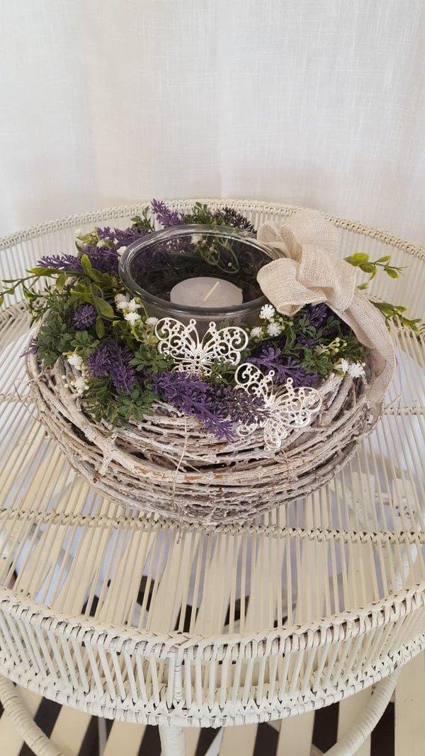 Lavendelkranz mit Glaseinsatz