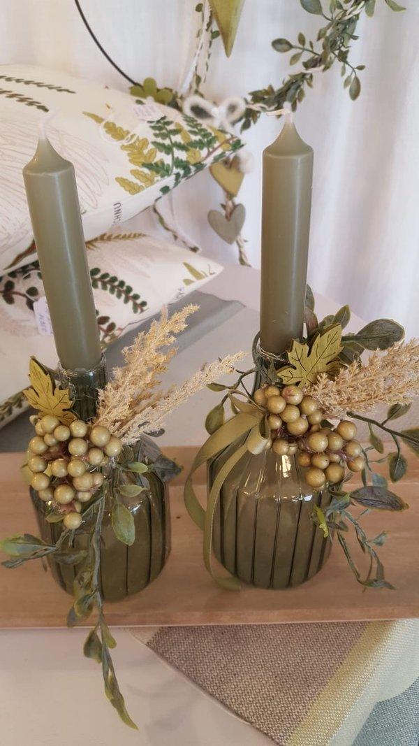 Kerzenständer Glas grün