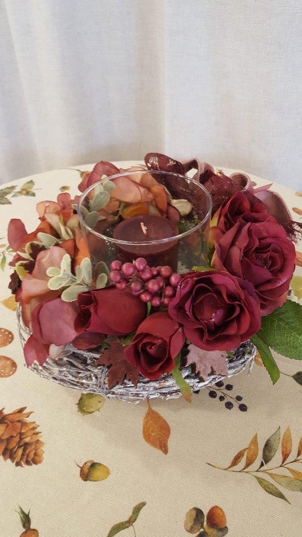 Tischkranz Herbstrose